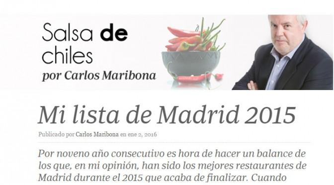 Viavélez en la lista de Salsa de Chiles de mejores restaurantes de Madrid